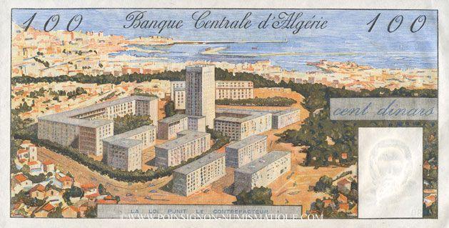 Banknoten Algérie. Banque Centrale. Billet. 100 dinars 1.1.1964