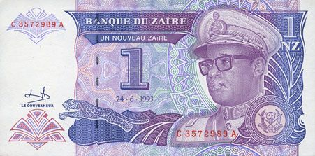Banknoten Zaïre. Billet. 1 nouveau zaïre 24.6.1993