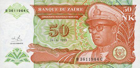Banknoten Zaïre. Billet. 50 nouveaux makuta 24.6.1993
