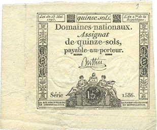 Banknoten Assignat. 15 sols. 23 mai 1793. Signature : Buttin
