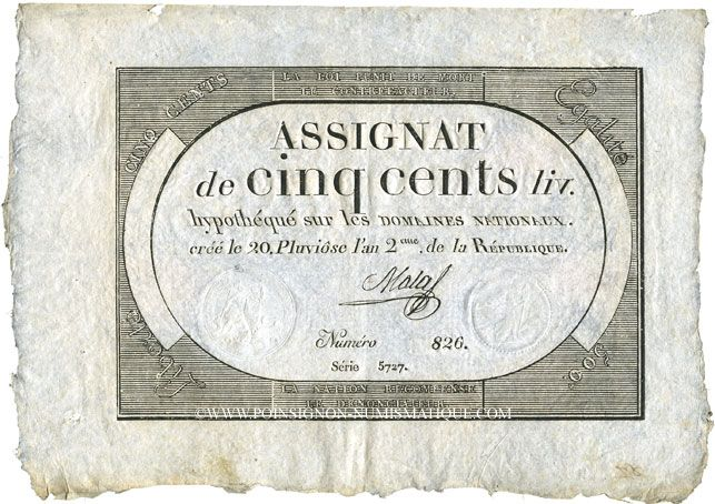 Banknoten Assignat. 500 livres. 20 pluviôse an 2. Signature : Nadal