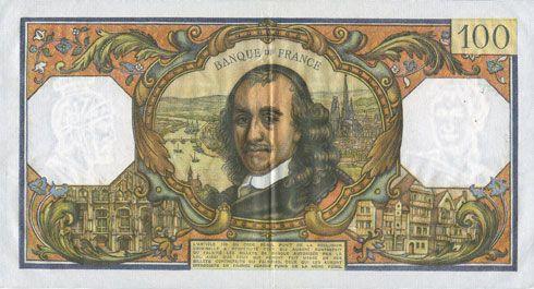 Banknoten Banque de France. Billet. 100 francs, Corneille, 2.6.1966