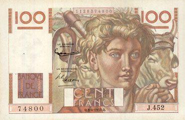 Banknoten Banque de France. Billet. 100 francs jeune paysan, 3.4.1952