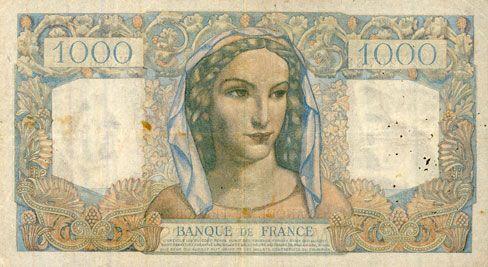 Banknoten Banque de France. Billet. 1000 francs, Minerve et Hercule, 11.3.1948