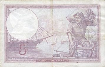 Banknoten Banque de France. Billet. 5 francs violet, 13.7.1939, modifié