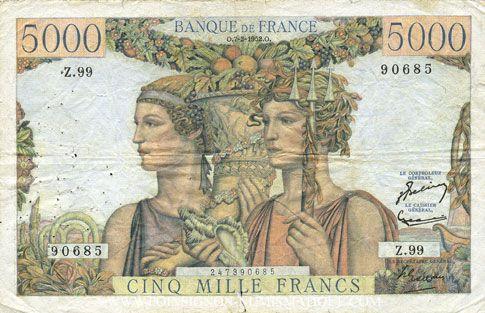 Banknoten Banque de France. Billet. 5000 francs, Terre et Mer, 7.2.1952