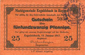 Banknoten Ergoldsbach. Marktgemeinde. Billet. 25 pf 15.1.1917