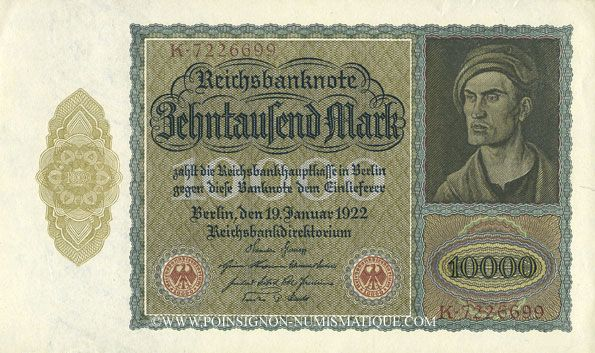Banknoten Allemagne. Billet. 10 000 mark 19.1.1922, série K