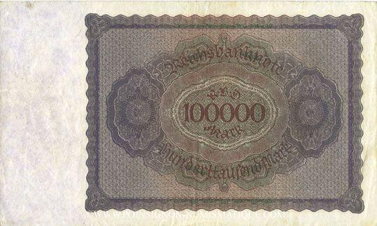 Banknoten Allemagne. Billet. 100 000 mark 1.2.1923. Série M