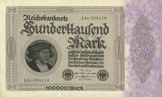 Banknoten Allemagne. Billet. 100 000 mark 1.2.1923. Série U