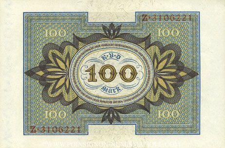 Banknoten Allemagne. Billet. 100 mark 1.11.1920 G, série Z