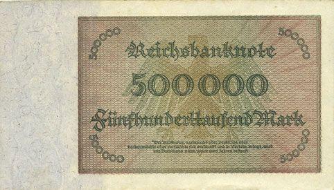Banknoten Allemagne. Billet. 500 000 mark 1.5.1923. Série AB