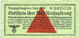Banknoten Allemagne. Camps allemands de prisonniers de guerre 1939-1945. Billet. 50 pfennig