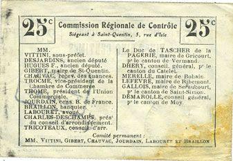 Banknoten Beaurevoir (02). Commune. Billet. B.R.U., 25 cmes