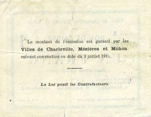 Banknoten Charleville, Mézières et Mohon (08). Billet. 1 franc 3.7.1915, série A