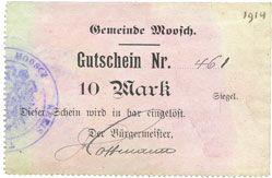 Banknoten Moosch (68). Commune. Billet. 10 mark (1914-1915). Papier gris verdâtre. Cachet communal allemand