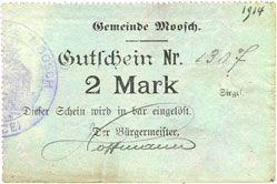 Banknoten Moosch (68). Commune. Billet. 2 mark (1914-1915). Papier vert. Cachet communal français