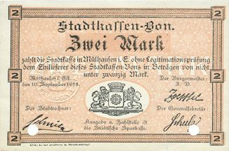 Banknoten Mulhouse (68). Ville. Billet 2 mark 10.9.1914. Annulé par double perforation