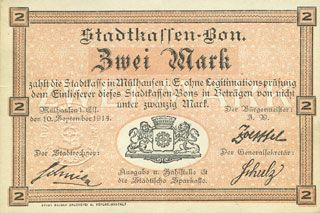Banknoten Mulhouse (68). Ville. Billet 2 mark 10.9.1914. Non annulé