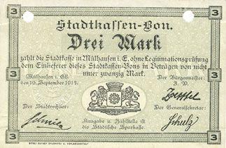 Banknoten Mulhouse (68). Ville. Billet 3 mark 10.9.1914. Annulé par double perforation