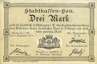 Banknoten Mulhouse (68). Ville. Billet 3 mark 10.9.1914. Non annulé