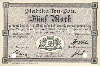 Banknoten Mulhouse (68). Ville. Billet 5 mark 10.9.1914. Annulé par double perforation