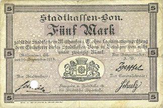 Banknoten Mulhouse (68). Ville. Billet 5 mark 10.9.1914. Annulé par perforation