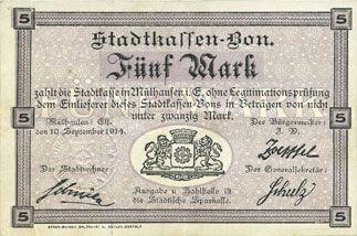 Banknoten Mulhouse (68). Ville. Billet 5 mark 10.9.1914. Non annulé