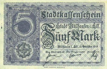 Banknoten Mulhouse (68). Ville. Billet 5 mark 15.10.1918. Annulation au revers par cachet « ANNULÉ »