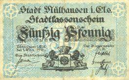 Banknoten Mulhouse (68). Ville. Billet 50 pfennig 1.5.1918. Non annulé