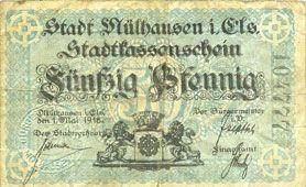 Banknoten Mulhouse (68). Ville. Billet 50 pfennig 1.5.1918. Type avec double numérotation. Non annulé