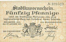 Banknoten Mulhouse (68). Ville. Billet 50 pfennig 27.01.1917. Non annulé