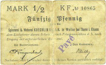 Banknoten Willer-sur-Thur. Spinnerei & Weberei Koechlin GmbH. Billet. 50 pfennig 17.8.1914. Annulé