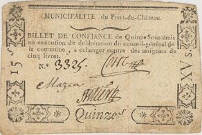 Banknoten Pont-du-Château. Billet de confiance de 15 sous n. d., 3 signatures