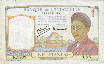 Banknotes Indochine. Billet. 1 piastre (1949), type Banque de France