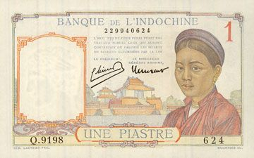 Banknotes Indochine. Billet. 1 piastre (1949), type Banque de France