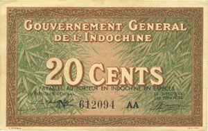 Banknotes Indochine. Billet. 20 cents (1939), Gouvernement général