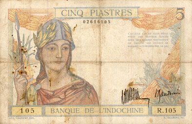 Banknotes Indochine. Billet. 5 piastres 1931, type Banque de France
