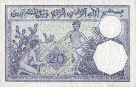 Banknotes Tunisie. Billet. 20 francs, type 1912, du 16.7.1938
