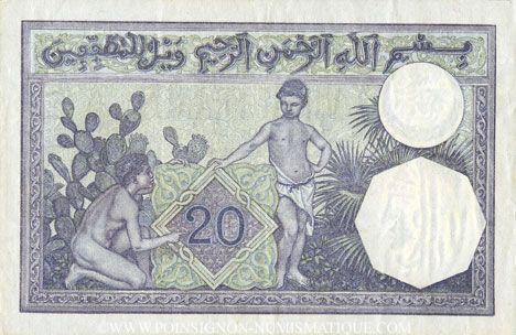Banknotes Tunisie. Billet. 20 francs, type 1912, du 19.9.1938