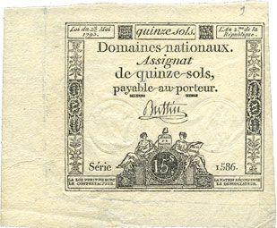 Banknotes Assignat. 15 sols. 23 mai 1793. Signature : Buttin