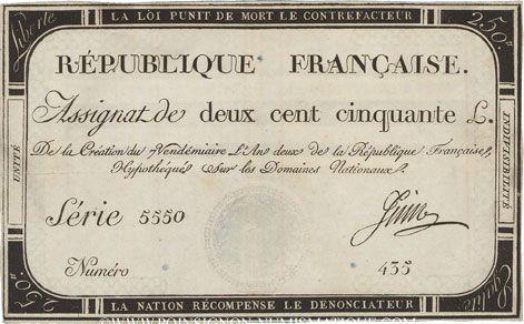 Banknotes Assignat. 250 livres. 7 vendémiaire an 2. Signature : Juin