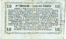 Banknotes Aisne, Ardennes et Marne - Bon régional. Laon. Billet. 50 cmes 16.6.1916, série 9