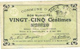 Banknotes Anor (59). Commune. Billet. 25 cmes 15.8.1915