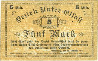 Banknotes Bas-Rhin (67). Bezirk Unter-Elsass. Billet. 5 mark Strasbourg, 25.10.1918