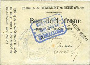 Banknotes Beaumont-en-Beine (02). Commune. Billet. 1 franc n. d.