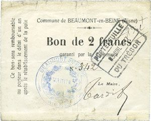 Banknotes Beaumont-en-Beine (02). Commune. Billet. 2 francs n. d.