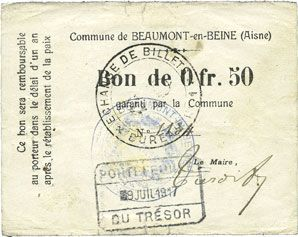 Banknotes Beaumont-en-Beine (02). Commune. Billet. 50 cmes n. d.