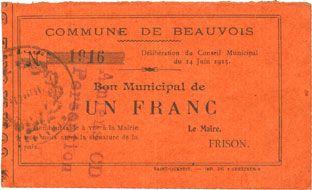 Banknotes Beauvois (02). Commune. Bon Municipal de 1 franc 14.6.1915