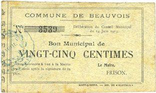 Banknotes Beauvois (02). Commune. Bon Municipal de 25 cmes 14.6.1915